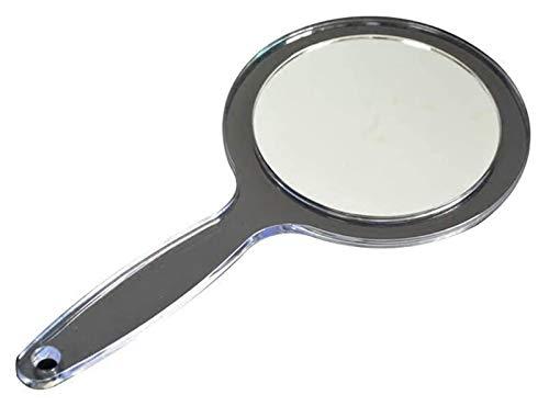 Wzqwzj Espejo de Maquillaje Espejo Plano de plástico Redondo de Doble Cara Espejo de Maquillaje de Mano Transparente Mango Largo Espejo Pared Pared Colgante de Pared, Claro Espejos para Escritorio