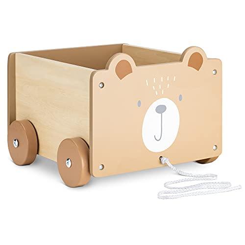 Navaris Cesta Portagiochi Bambini con Ruote - Contenitore Porta Giocattoli in Legno - Toys Box Rettangolare Giochi Bimbi 5,5l - Design Orso Marrone