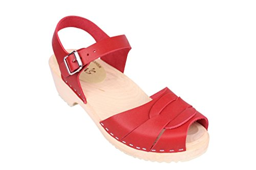Lotta From Stockholm Torpatoffeln Swedish Clogs : Low Heel Peep Toe Clogs in Red Leather US 9 M/EUR 40