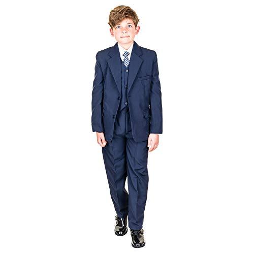 Hei Mei 5tlg. Jungen Fest Anzug Kommunionsanzug Smoking Kinderanzug für viele Festliche Anlässe M133bl Blau 10/128 / 134