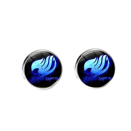 Pendientes de aro con forma de cola de hada, diseño de cola de hada, con logotipo de anime, para hombres y mujeres