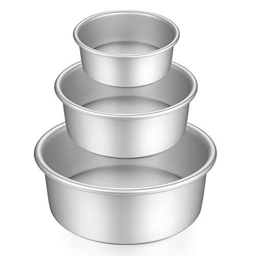 Gesentur Cake Pan Set, Round Cake Mold Anodised Aluminium 5 Pcs Bakeware with Removable Base for Cake Baking Party Birthday Christmas (5'6'7'8'9')