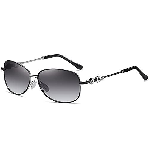 ZKP Gafas de sol polarizadas para mujer con marco grande, gafas de sol para mujer, gafas de sol anti-UV/anti-UVB 4 colores disponibles (color: marco negro gris progresivo)