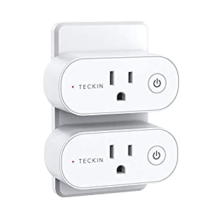 Smart Plug Compatible with Alexa, Google Home, TECKIN Smart Plug 15A WiFi Outlet Support High Power Appliance, Alexa WiFi Plugs with Timer Function, 2 Pack