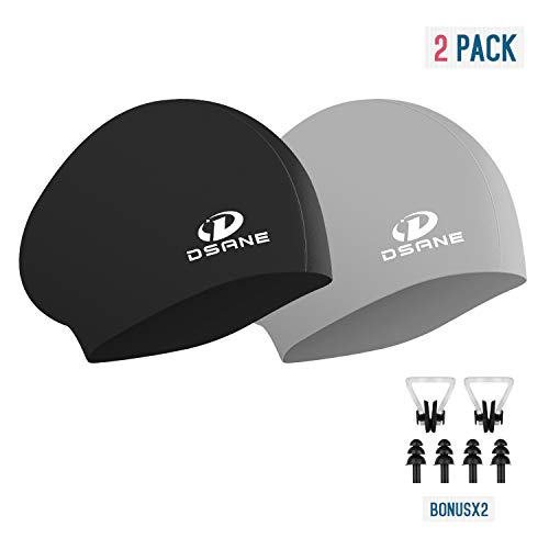 Womens Silicone Swim Cap for Long Hair,3D Ergonomic Design Silicone Swimming Caps for Women Kids Men...