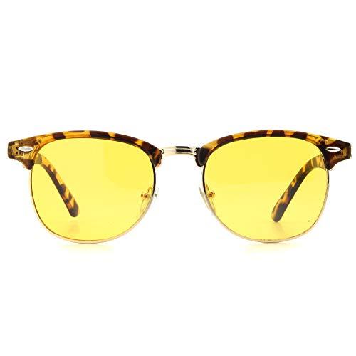 Cyxus Blaulichtfilter Brille, UV Schutzbrille gegen Kopfschmerzen, Augenmüdigkeit,Brille für PC TV Tablet Unisex, Computerbrille mit transparenten Linsen für Herren Damen (Leopardenmuster Rahmen / gelbe Linse)