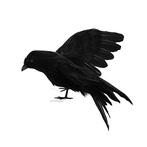 Fashionwu Halloween Decoration Realistic Crows Halloween Handmade Crow Prop Feathered Black Crows Props Raven Scene Birds Decoration - 1pc Flying Crows, 5.9in