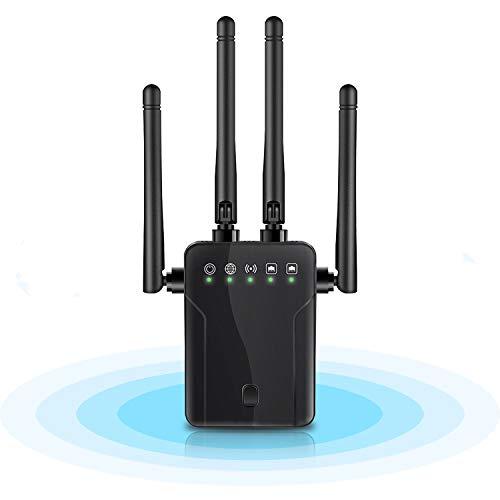 Repetidor WLAN de banda dual 5 GHz 2,4 GHz, indicador de intensidad de la señal, ampliador WiFi con router/AP/WPS/modo de punto de acceso inalámbrico, 4 antenas externas WiFi, rango de amplificación