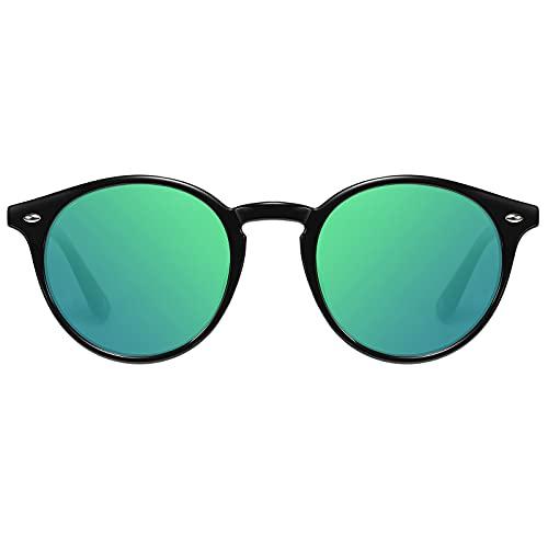 H HELMUT JUST Gafas de Sol para Hombre Mujer Polarizadas Redondas Ligero Vintage TR90 y Acetato Cristal Tipo Verde Espejo Anti Reflejos