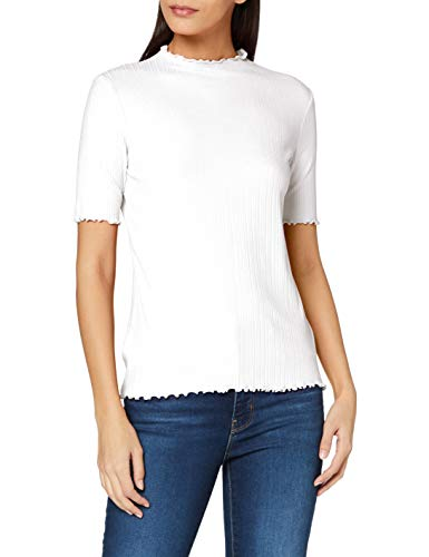 TOM TAILOR Damen Rib Kurzarm T-Shirt, 10315-Whisper White, XS