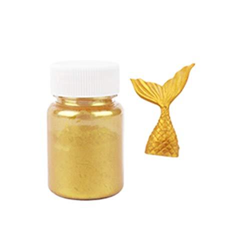 Rtengtunn Polvo de Brillo, 15g de Polvo Comestible de Plata Dorada con Purpurina para Decorar Pasteles de Fondant - Oro