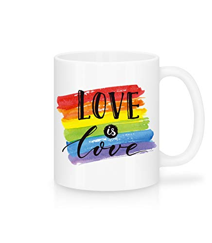 Shirtinator Tasse Geschenk Love is Love I Liebe Tassen LGBTQ+ Regenbogen Rainbow Valentinstag