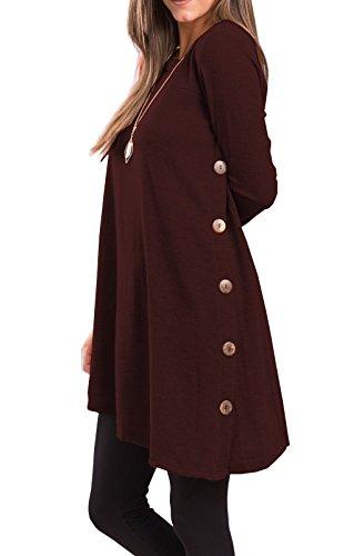 iGENJUN Women's Long Sleeve Scoop Neck Button Side Sweater Tunic Dress,M,Burgundy