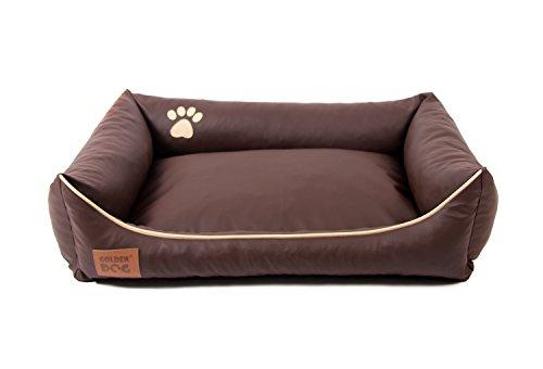 Hundebett Kunst Leder Luxus Hundebett Hundesofa Katzenbett Hundekorb S M L XL XXL XXXL Dollaro (L (ca. 90x70 cm), braun)