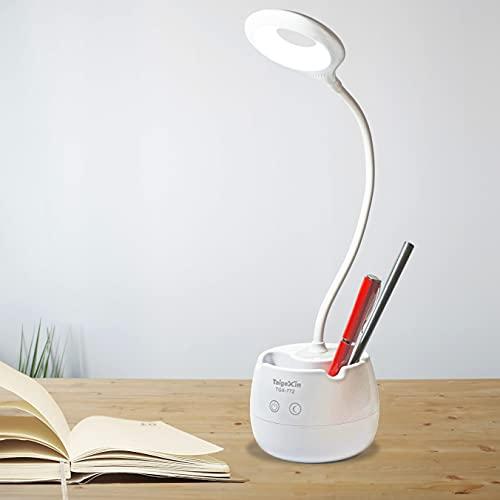 Lampada da Scrivania a Led Senza Fili Ricaricabile con cavo USB, da Tavolo utilizzabile in modalità Notturna, Bianca e Piegevole dal Design Moderno, Touch con Porta penne ideale per la Lettura