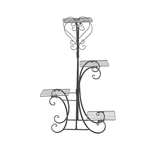Queiting 4 Etagen Blumenständer Blumenregal Metall Pflanzenständer Garten oder Balkon Pflanzenregal Ausstellungsstand für Innen Balkon Wohzimmer Outdoor Garten Dekor Blumenständer