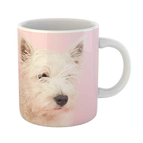 Taza De Té Y Café Cerámica Rosa Perro West Highland White Terrier Westie Westy Animal Coworkers Boss Mug