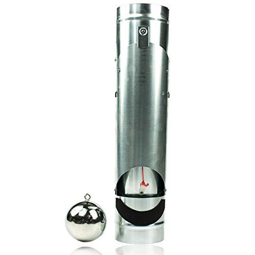 """Zink Regenrohrklappe 100 mm\""""Frankomat\"""" mit Kugel (Schwimmer) für Fallrohr - Vollautomatische Fallrohrklappe als Wassersammler für Regentonnen - Titanzink Wasserklappe öffnet und schließt automatisch"""