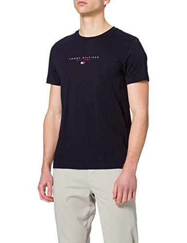 Tommy Hilfiger Essential in Cotone con Logo Maglietta a Maniche Corte, Blu (Cielo del Deserto), M Uomo