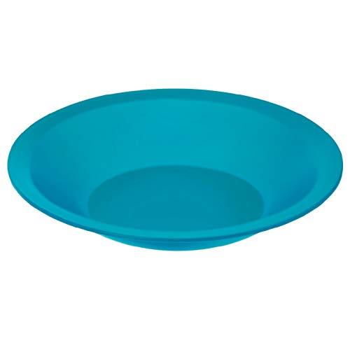Rotho Caruba tiefer Plastikteller Mehrweg, Kunststoff (PP) BPA-frei, blau, 21,0 x 21,0 x 3,5 cm