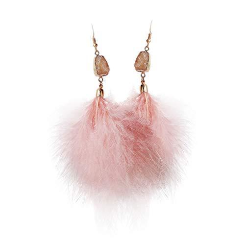 GUMEI Pendientes Colgantes de Piedra de Cuarzo Rosa con Borla de Plumas Naturales Mujer, joyería de Moda