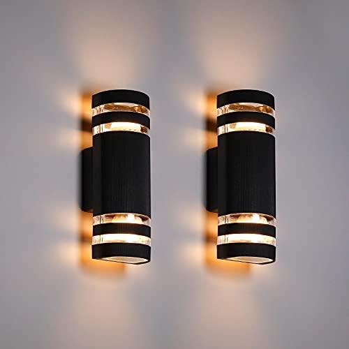 Außenwandleuchte Leelike 2er Set Aussenleuchte Aussenlampe IP65 Wasserdichte Wand Aluminium Up and Down Außenlampe Außenleuchte 3000K Wasserdichte Outdoor-Wandlampen
