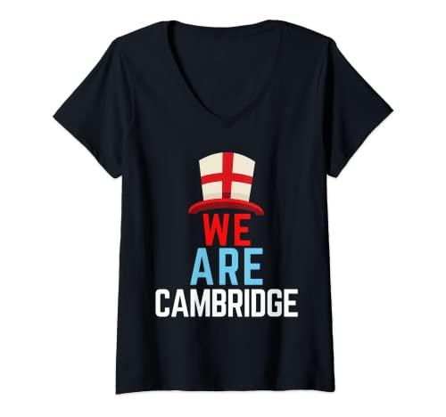 Mujer We Are Cambridge Inglaterra Bandera Deportes Camiseta Cuello V