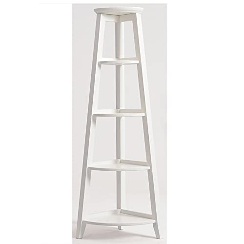 NgMik Corner Ladder American Solid Wood Corner Shelf Floor Combination Indoor Flower Stand Bedroom Living Room Display Rack Multipurpose (Color : White, Size : 40x150cm)