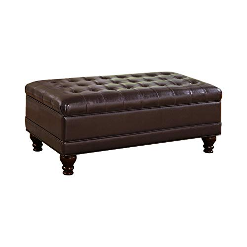 Oversized Faux Leather Storage Ottoman Dark Brown