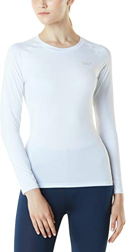 TSLA Women's Sports Compression Shirt, Cool Dry Fit Long Sleeve Workout Tops, Athletic Exercise Gym Yoga Shirts, Round Neck(fud01) - White, Small