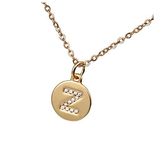 Moonuy Frauen Halskette Micro Zirkon Intarsien Matte Circular Halskette 26 Letters Clavicle Neck Chain