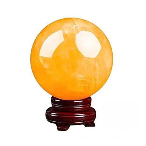 Bola de Cristal Exquisito feng shui natural amarillo bola de cristal bola de transferencia de la bola de escritorio decoración de la sala de estar entrada decoración del hogar Bola de Cristal Adivina