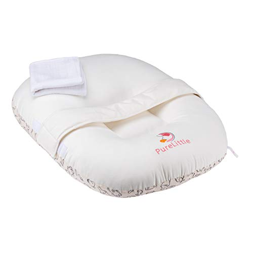 PureLittle Organic Breathable Baby Lounger Pillow with Safety Belt Orthopedic Baby Cushion Nest
