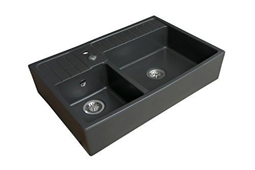 Best Prices! Sink 2 Trays Baroque Black Ceramic