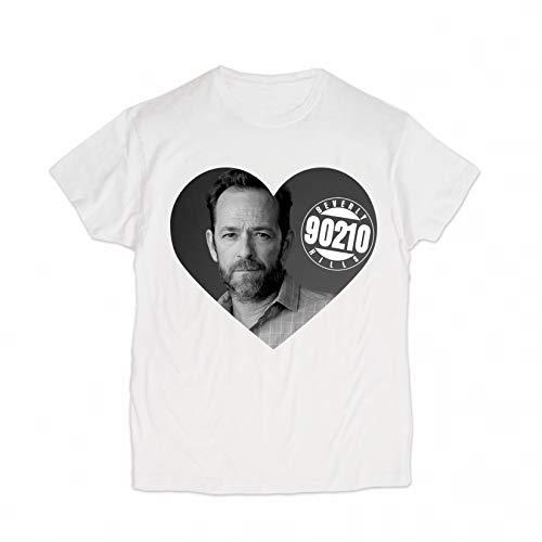 BroStore Memory of Luke Perry T-Shirt for Men Women Unisex Cotton Top Clothing Shirt Dylan McKay Beverly Hills (White, Women - XL)
