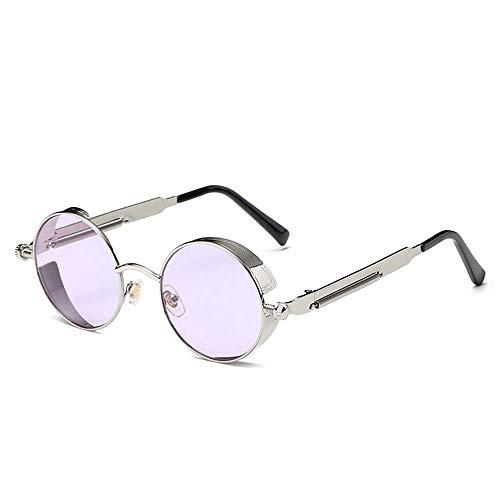 Gafas de Sol de la Moda Gafas de conducción Hombres y Mujeres Que corren Pescar Vapor Punk Viento polarizado Redondo Retro púrpura/Rosa Gafas de Sol (Color : Purple Lens)