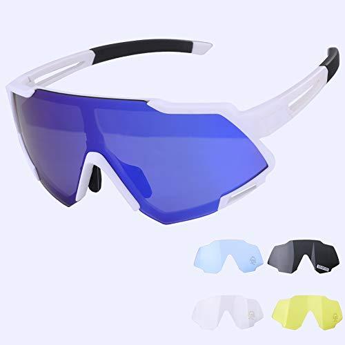 GARDOM Gafas de Ciclismo Hombres Mujeres, Gafas de Sol Deportivas con 5 Lentes Intercambiable para Correr Pescar Escalar Esquiar Vacaciones (Azul-Blanco-5 Lente)
