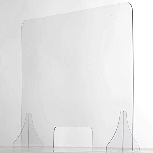 Spuckschutz Plexiglas aus Acrylglas mit Fenster - Glasklar Plexiglas Schutzwand - sichern Spuckschutz Thekenaufsatz mit Durchreiche - Farblose Plexiglas Platten - Virenschutz (100x75 cm) - Seven Group
