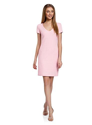 oodji Collection Mujer Vestido de Tejido Texturizado con Escote en V, Rosa, ES 40 / M