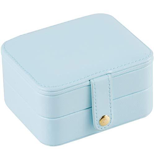 HKHJ Caja Joyero Pequeña, Cajas para Joyas 2 Capas Joyero Portátil de Viaje Mujer Organizador para Anillos, Aretes, Pendientes, Pulseras y Collares,Light Blue