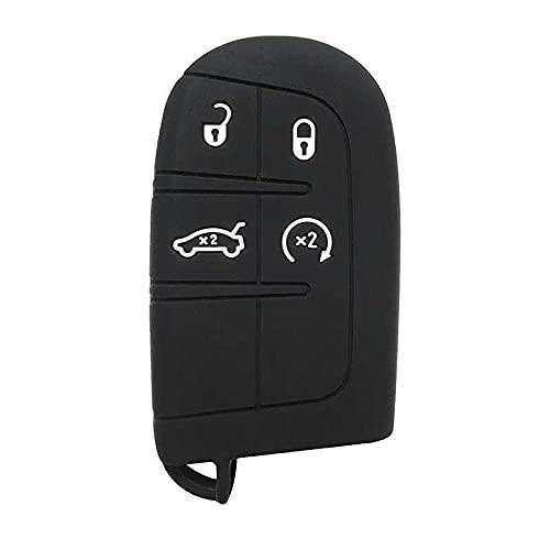 LZZCTB Cubierta de la llave del coche, llavero inteligente de silicona de rana, carcasa protectora de entrada sin llave, caja de botón, ajuste para Jeep Dodge Chrysler JCUV Dart Journey Grand Cherokee