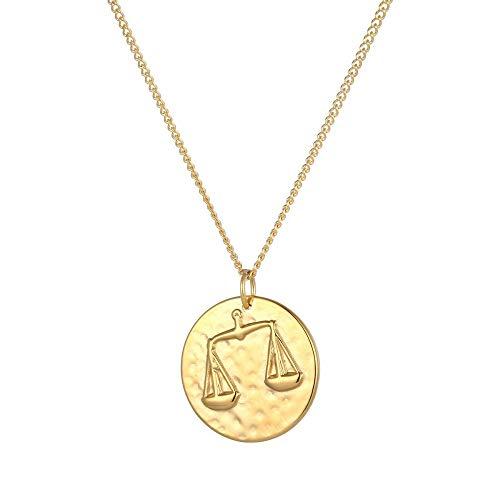 Tribal Spirit Damen Kette Anhänger Waage Sternzeichen Tierkreiszeichen Edelstahl Silber Gold Farbe Gold