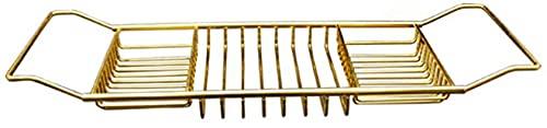 Dengbang Estante bañera Caddy Bandeja de bañera de Acero Inoxidable sobre bastidores de bañera Organizador de Ducha con Lados Extensibles,-Gold