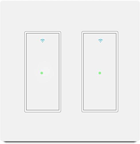 Youngzuth - Interruptor inteligente de luz inteligente de 2,4 GHz con Wi-Fi Dual Switch funciona con Amazon Alexa y Google Home, control de voz/control remoto, ajuste de...