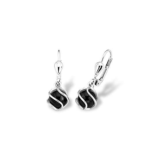 amor Ohrring für Damen 2,5 cm 925 Silber rhodiniert Onyx schwarz