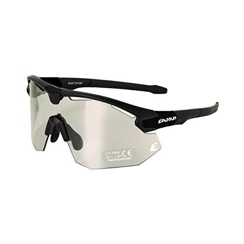 EASSUN Gafas de Ciclismo Giant, Fotocromáticas, Antideslizantes y Ajustables con Sistema de Ventilación - Negro Mate