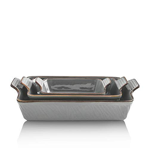 KOOV Bakeware Set, Ceramic Baking Dish Set, Rectangular Casserole Dish Set, Lasagna Pans for Cooking, Cake Dinner, Kitchen, 9 x 13 Inches, Texture Series 3-Piece (3 Piece, Cloudy Grey)