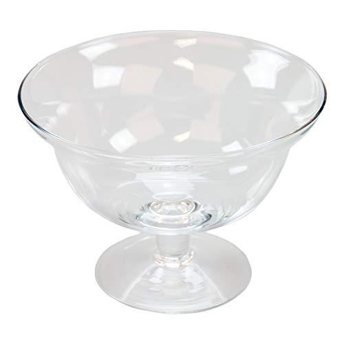 Glazen schaal Roxy 76 hoogte 13 cm Ø 18 cm. Platte glazen schaal op voet met kleine steel in helder glas.