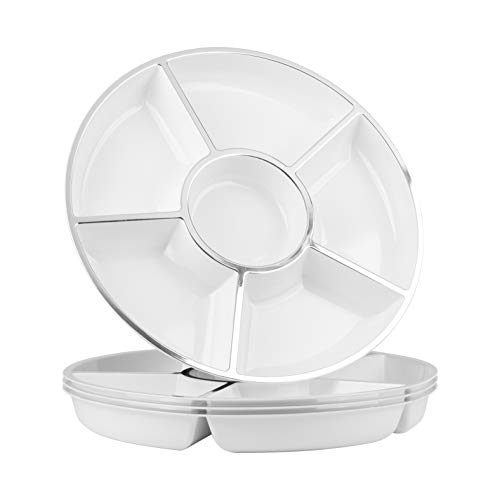 Party Bargains 6 Sectional Round Plastic Serving Tray