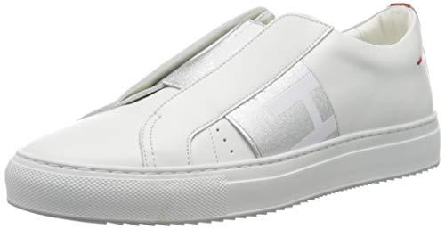 HUGO Damen Futurism Low Cut-Bi Sneaker, Silver48, 35 EU